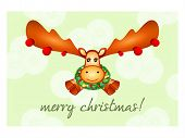 foto of rudolf  - Japanese Nengajo New Year card with cute Rudolf the Reindeer - JPG
