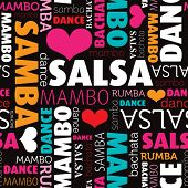picture of samba  - Seamless salsa and other dance type and style background pattern in vector - JPG