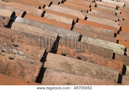 Detail shot of house roof tiles