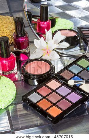 Display Of Colourful Modern Make Up