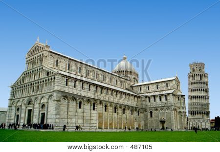 Duomo Cathedral And Leaning Tower In Pisa, Italy