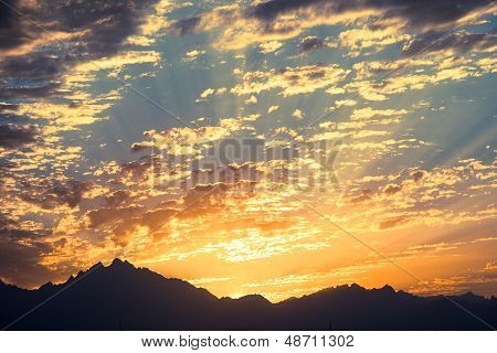 Sunset in Desert - Sahara Rocky Mountains