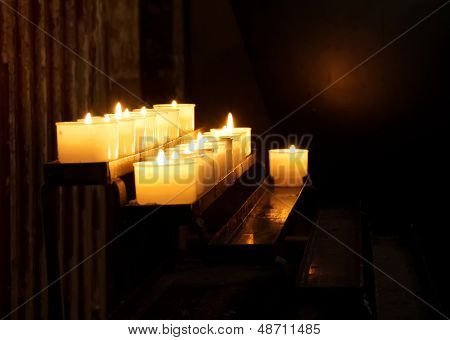 Church Candle In A Row
