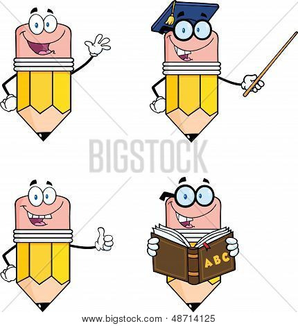 Pencil Cartoon Characters. Set Collection 2