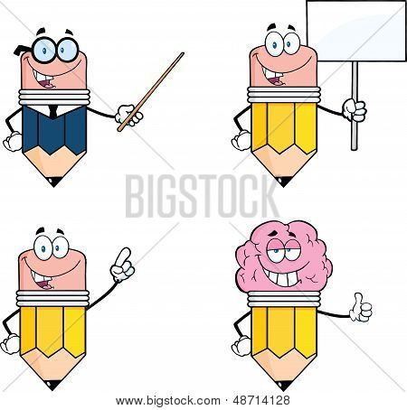 Pencil Cartoon Characters. Set Collection 3