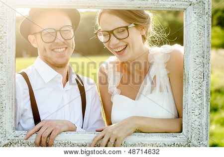 Happy couple on wedding day. Bride and Groom. Vintage wedding.