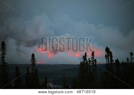 Forest Fire in Wabush, Labrador, Canada.  Wabush Forest Fire in which the Town of Wabush had to Evacuate and a state of emergency was called, 2013