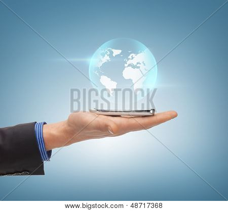 news, technology and environment concept - man hand with sphere globe