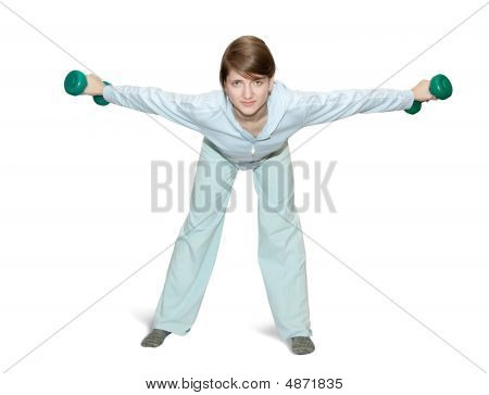 Girl Is Doing Fitness Exercises