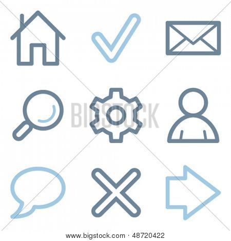 Web icons, blue line contour series