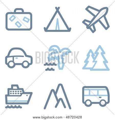 Travel icons, blue line contour series