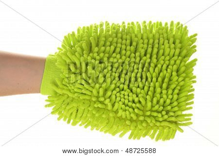 Female Hand With A Sponge Mitt