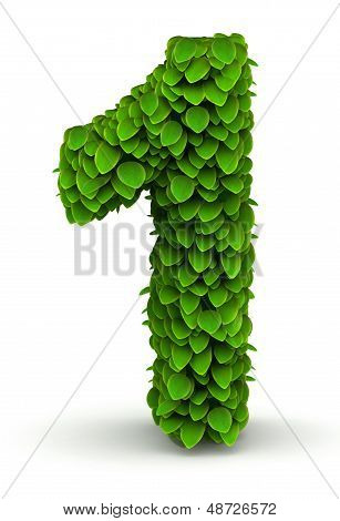Number 1, green leaves font