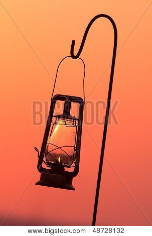 Hurricane Lamp In Silhouette