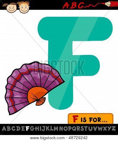 Letra F con ilustración de dibujos animados de ventilador
