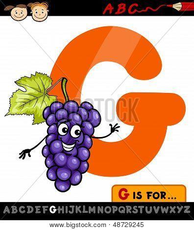 Letra G con ilustración de dibujos animados de uvas