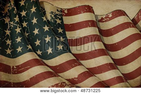 Us Flag Wwi-wwii (48 Stars) Old Paper