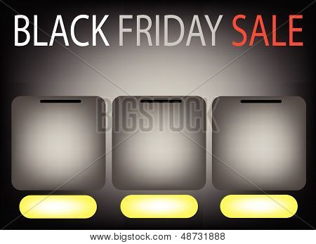 Three Square Label On Black Friday Sale Background