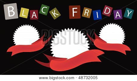 Three Round Banners On Black Friday Background