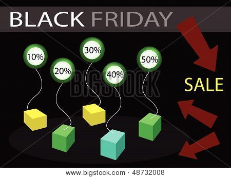 Black Friday Sale Banner With Percentages Discount Label