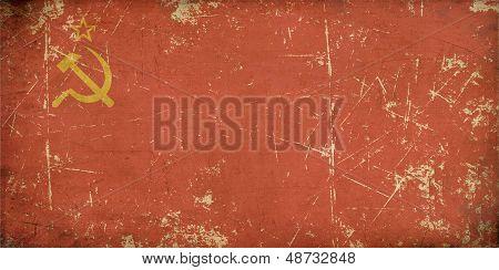 União Soviética bandeira plana envelhecido