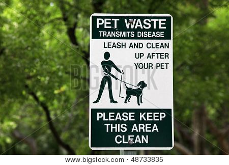 Pet Waste Sign At The Park