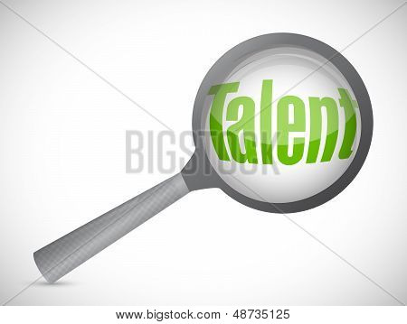 Magnifying Glass Showing Talent Word
