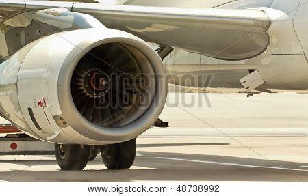 Closeup Of Airplane Engine