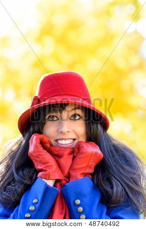 Happy Autumn Woman Shivering