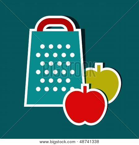 Grater And Apples. Vector Kitchen Symbols