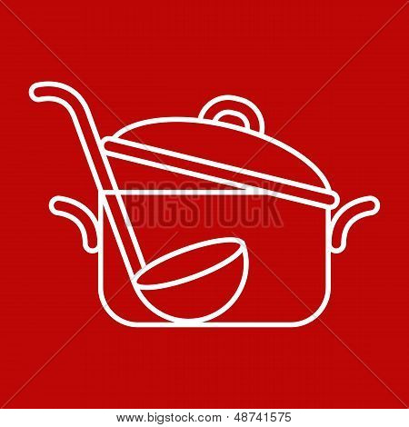 Pan And Ladle - Vector Illustration