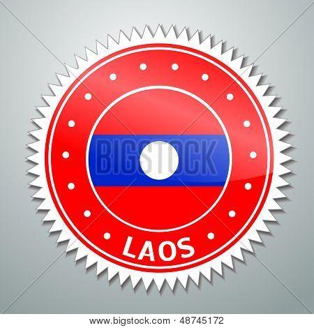 Laotian flag label