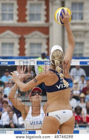 12/08/2011 LONDON, ENGLAND, Jennifer Kessy  (USA) and Lisa Rutledge (USA) during the FIVB International Beach Volleyball tournament, at Horse Guards Parade, Westminster, London.