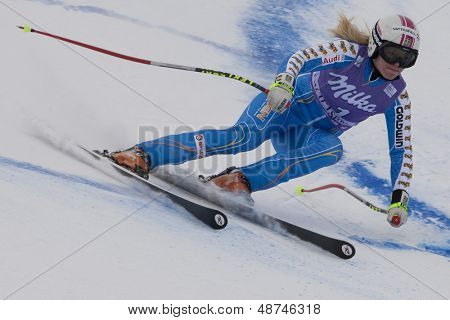 VAL D'ISERE FRANCE. 19-12-2010. Jessica Lindell-Vikarby (SWE) during the Super Giant Slalom section of the women's Super Combined race at the FIS Alpine skiing World Cup Val D'Isere France.