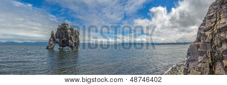 Panorama Of Hvitserkur, Rock Formation In Hunafjordur Fjord, Iceland