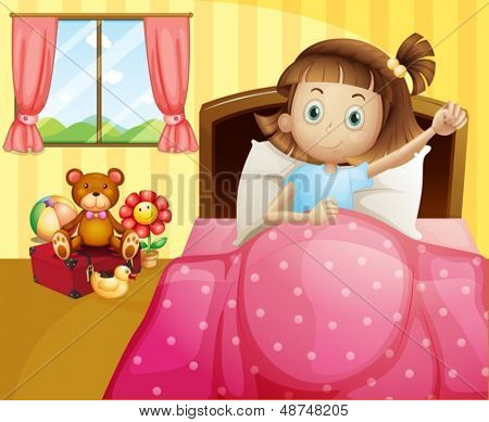 Illustration of a girl lying in her bed with a pink blanket