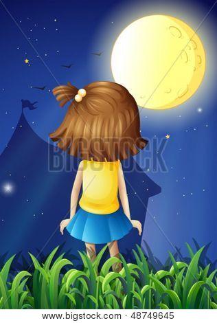 Ilustración de una niña frente a la brillante luna llena