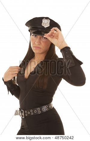 Woman Cop Hand On Collar And Hat