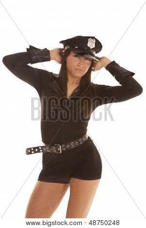 Woman Cop Hands On Head