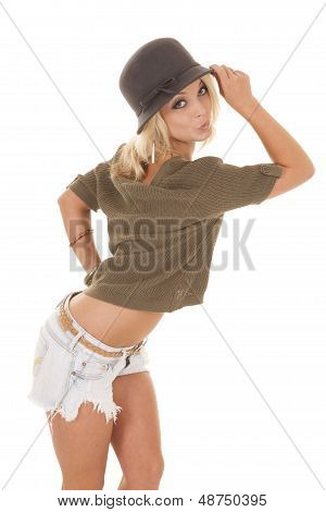 Woman Shorts And Sweater Hat Kissy Face