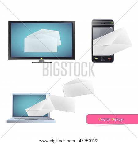 Realistic Tv, Computer And Phone Isolated On White Background With Envelope Inside. Vector Design.