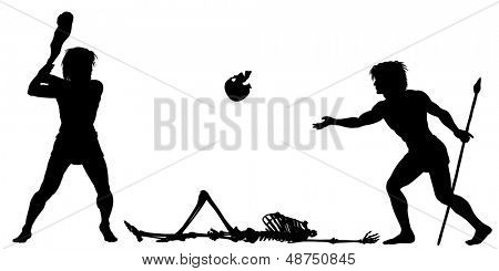 Editable vector silhouettes of two cavemen inventing baseball using a club and skull