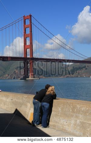Golden Gate Bridge And Couple