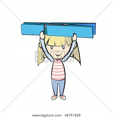 Girl Holding Clothespin