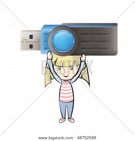Girl Holding A Realistic Blue Pendrive. Vector Design