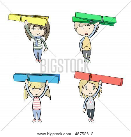 Groups Of Kids Holding Clothespin