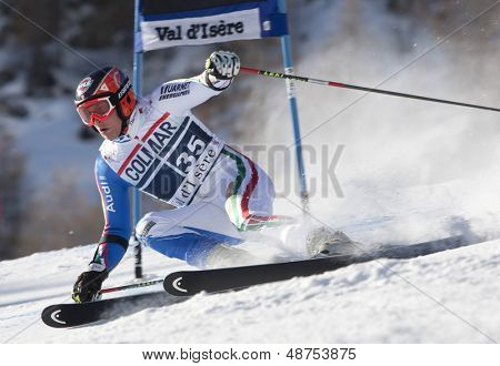VAL D'ISERE FRANCE. 11-12-2010. EISATH Florian (ITA)  attacks a control gate during  the FIS alpine skiing world cup giant slalom race on the Bellevarde race piste Val D'Isere.