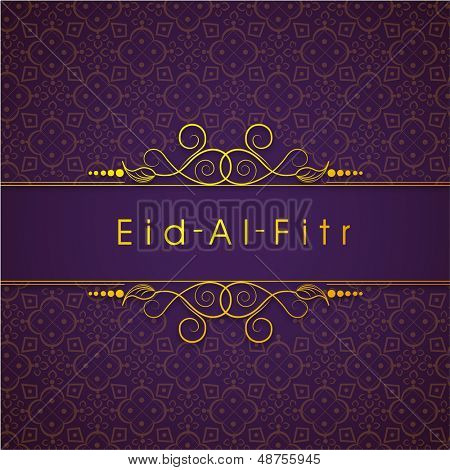 Golden text Eid Al Fitr (Eid Mubarak) text on floral decorated purple background for Muslim community festival.