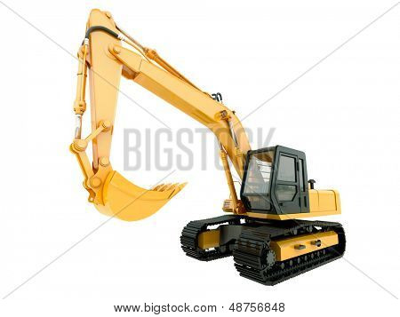 Schwere Baumaschine: Bagger, isolated on white Background