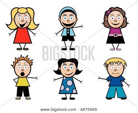 Cartoon School Kids